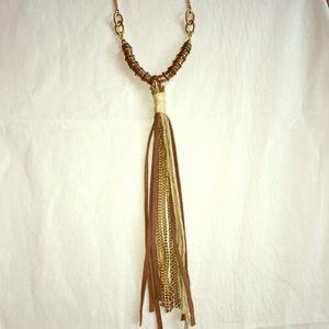 Nordström brown and gold tassel necklace